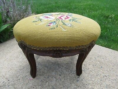 Vintage Needlepoint Floral Peridot Green Carved Queen Anne Footstool