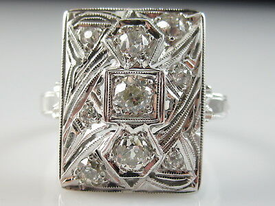 Vintage Old European Cut Diamond RIng 14K White Estate Antique Art Deco Retro