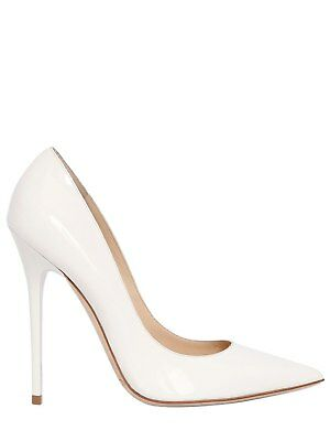 2fe7ae6ac Jimmy Choo 120MM Anouk Patent White Leather Authentic $750 Pumps Size 36