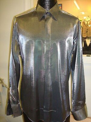Rare - Raffinati Shinny Silver Satin Fly Front Tuxedo Dress Shirt - 17.5 x 33