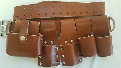 New Heavyduty Scaffold Brown Original QualityLeather ToolBelt 5IN1 Hammer Holder