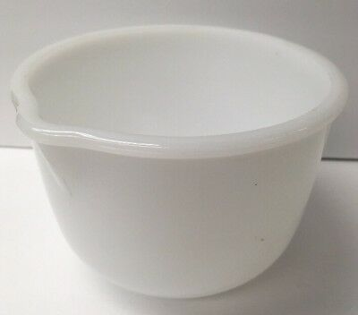 Glasbake for Sunbeam Small White Milk Glass Mixing Bowl w Spout Made in USA #10