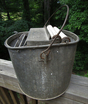 Vintage Antique DeLuxe Metal Mop Bucket Wringer Deluxe Galvanized Wood Rollers