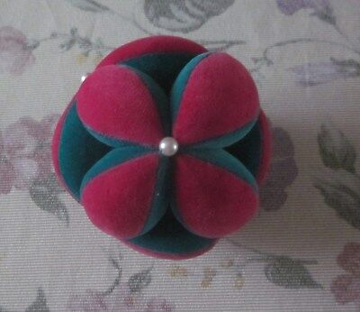 Vintage Antique Handmade Velvet Puzzle Ball Pin Cushion Amish Sewing