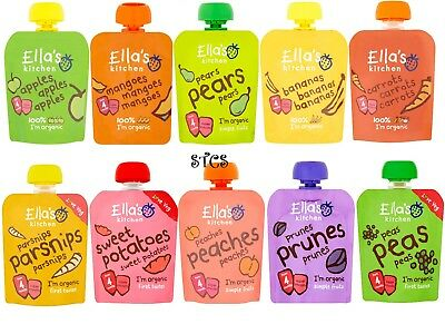 Ella's Kitchen Organic 70g - From 4 Month Super Smooth Puree Various Fruit & Veg