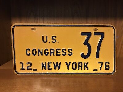 NEW YORK LICENSE PLATE 1976 U.S. CONGRESS 37 Government POLITICAL