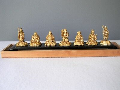Vintage The Seven Lucky Gods Japan Complete Set Celluloid w/ Stand and Box