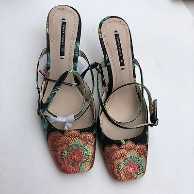6d8e8812079 Zara Women s Embroidered Floral Square Toe High Heel Slingback Shoes Size  7.5