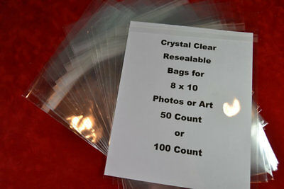 Clear Bags for Photos or Art (100) Bags for 8 x 10 Photos Resealable Protective