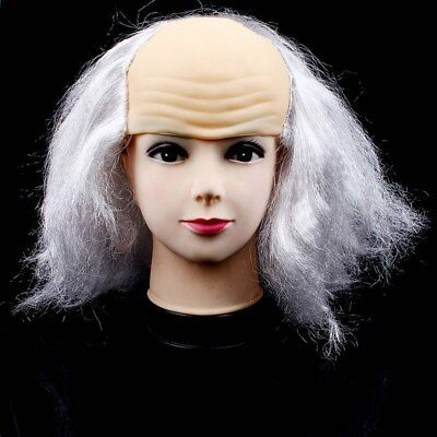Bald Wig Funny Bald Cap Latex Wigs Old Lady Wigs for Costume Halloween Fools Day
