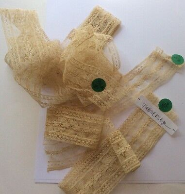 Antique Ecru Ivory Delicate Lace Trim Tatted Edging Lot 3 Pieces 4 Yards