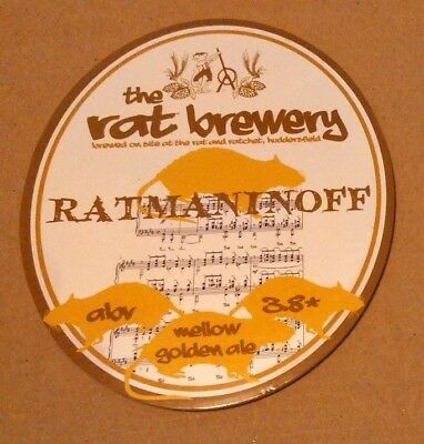 Beer pump badge clip RAT brewery RATMANINOFF cask ale pumpclip front Yorkshire
