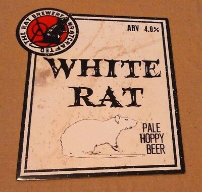 Beer pump badge clip RAT brewery WHITE RAT cask ale pumpclip front YORKSHIRE
