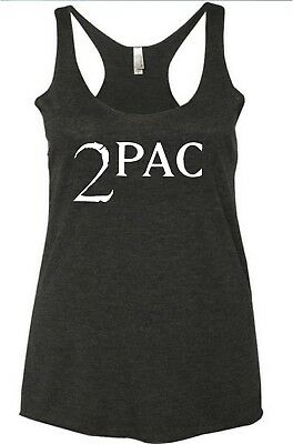 0a78b79b8d443 2pac tupac womens ladies tank top t shirt soft racerback workout clothes  rap new