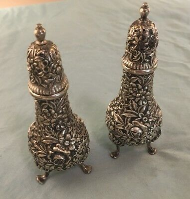 S. Kirk & Son Repousse - Sterling Silver - Footed Salt & Pepper Shaker Set