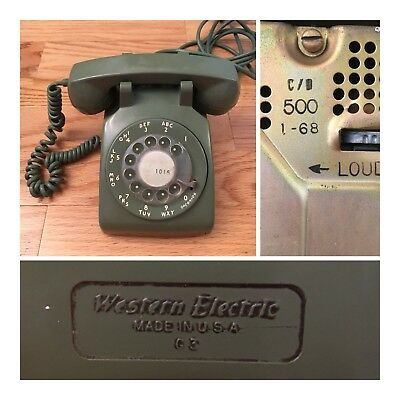 Vtg Western Electric 500 DM Bell System Avocado Green  Rotary Dial Desk Phone