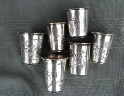 Lot of 6 Antique Five (5) russian 84 silver vodka cups plus 1 Austrian cup