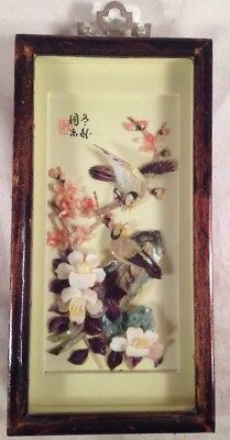 VTG Bird Pink Blossom Shadow Box Asian Oriental Mother of Pearl Wall Art