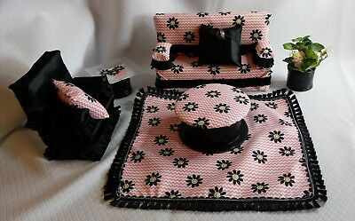Barbie Doll Furniture Living Room Set - couch, chair, rug, tables Black/Pink