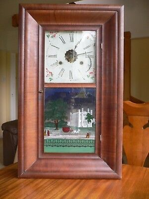 Ansonia Wall Clock (Working) & Painted Glass  New Haven Conn. 1854 by Wade/Wane?