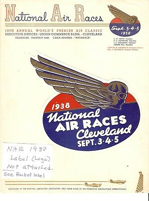 NATIONAL AIR RACE 1938 Offcl stationery, LABEL, ROSCOE TURNER, Jacqulin COCHRAN