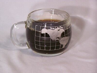"""NESTLE Gobal World glass coffee cup - approx. 3"""" tall (NesCafe?)"""