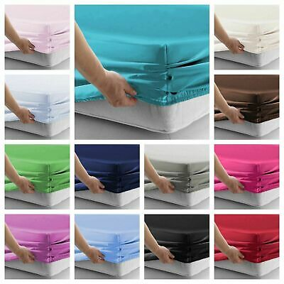 Plain Cotton Blend Fitted Sheet Sheets Pillowcases Single Double Super King Size
