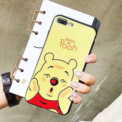 For iPhone X 8 7 6s Plus Cute Stitch Winnie Phone Case Silicone Shockproof Cover