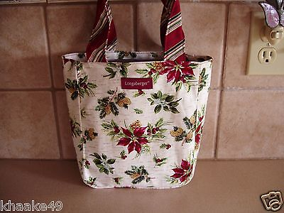 Longaberger Holiday Botanical Poinsettia Small Tote Or Lunch  Bag Nip Free Ship