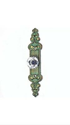 2 Exquisite Cast Iron Drawer Pull Faceted Glass Knob Verdigris French Shabby
