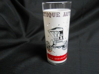 Mid Century Anchor Hocking Tumbler Glass Antique Autos 1900 Oldsmobile 16 oz