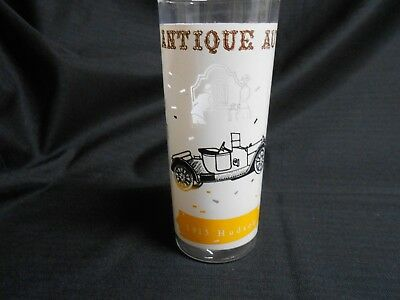Mid Century Anchor Hocking Tumbler Glass Antique Autos 1913 Hudson 16 oz