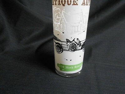 Mid Century Anchor Hocking Tumbler Glass Antique Autos 1909 Nash Rambler 16 oz
