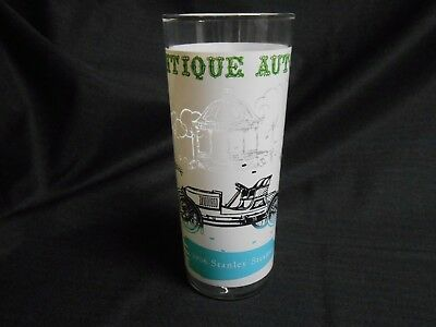 Mid Century Anchor Hocking Tumbler Glass Antique Autos 1906 Stanley Steamer