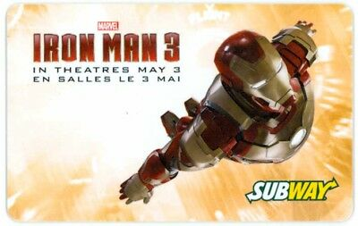 Robert Downey Jr. IRON MAN 3 collectible Subway gift card yellow