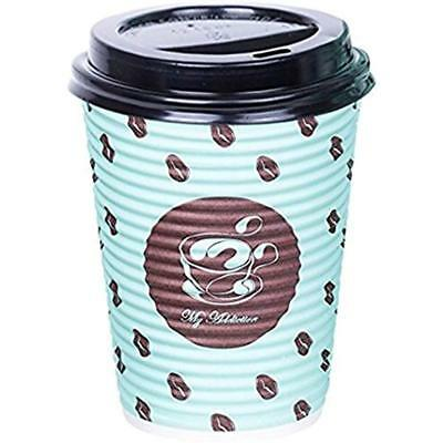 PREMIUM Set Of 100 Paper Coffee Hot Cups, Disposable With Lid, 12 Oz To Go Lids
