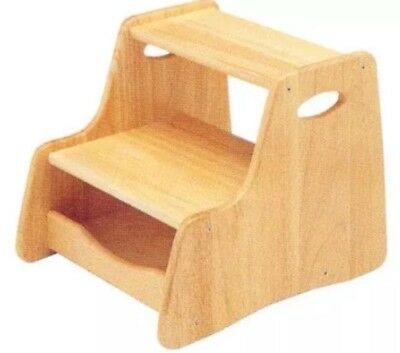 Pintoy Wooden Step Stool,2 Steps Ideal For Toddler Age 3 Plus Natural Wood.