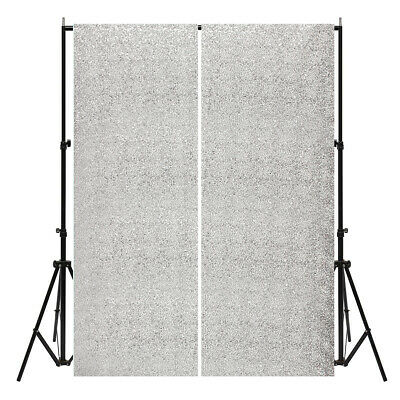 AUSTOCK 2 Panels 2FTX7FT Silver Shimmer Sequins Fabric Wedding Photography Backd