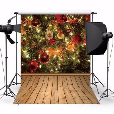 AUSTOCK 3x5ft Christmas Theme Tree Gift Ornament Wooden Photo Vinyl Background B