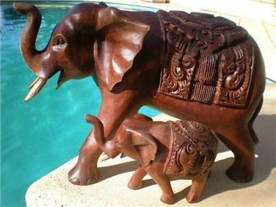 Elephant Mother & Calf Hard Wood Carving Statues Bali Balinese