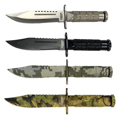 """Lot of 4pc Defender-Xtreme 8.5"""" Mixed Colors Survival Knives With Nylon Sheath"""