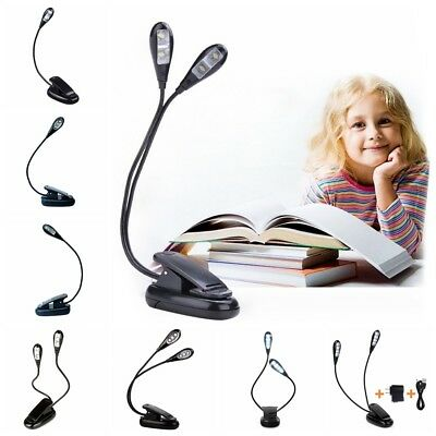Dimmable LED Flexible Reading Light Clip-on Clamp Beside Bed Table Desk Lamp