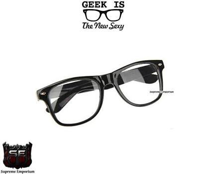 Black Square Frame Clear Lens Glasses Fashion Fake Geek Glasses UV Protection