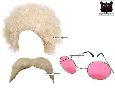 DELUXE LADIES HIPPIE HIPPY AFRO CURLY WIG SUNGLASSES TASH 1970s FANCY DRESS KIT