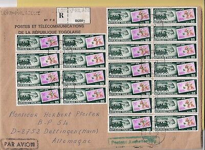 B 1906 Lome Reg December 1973  cover air Germany; 22 stamps all the same