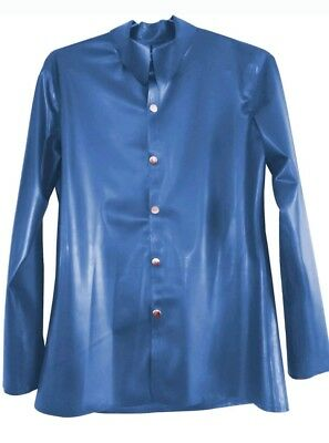 Blue Latex Rubber Mens Long Sleeve Shirt - Button Front **SALE**
