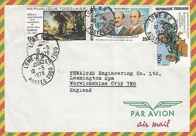 B 2834 Lome Togo May 1978 air cover UK; 3 stamps