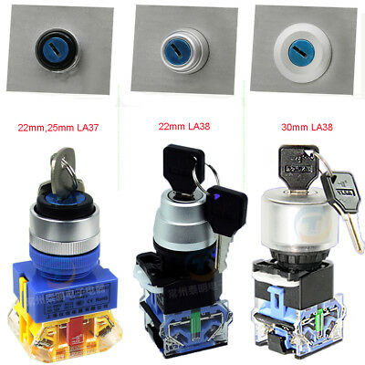 22/25/30mm Security Rotary Key Switch Lock 2/3 Position Momentary/Latching 10A