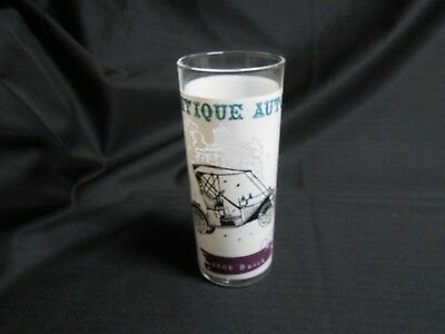 Mid Century Anchor Hocking Tumbler Glass Antique Autos 1908 Buick 16 oz