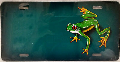 Tree Frog on teal manufactured airbrushed license plate - CLOSEOUT